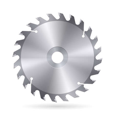 Metal blade  of circular saw on white background