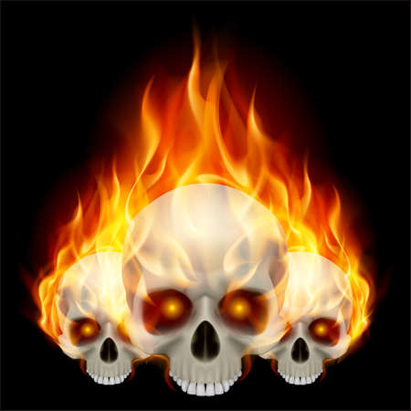 Three flaming skulls with fiery eyes on black background