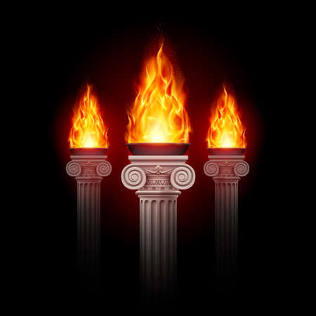 Illustration pour Three ancient columns with fire blazing in darkness. Mystic illustration - image libre de droit