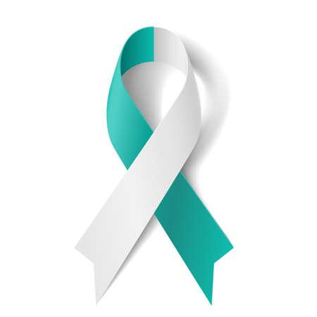 Illustration pour Teal and white ribbon as symbol of cervical cancer - image libre de droit