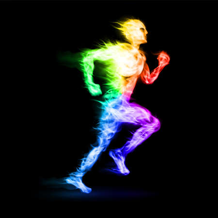 Fiery running man with motion effect on black background