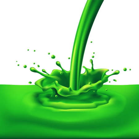 Pouring of green paint with splashes. Bright illustration on white background