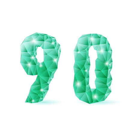 Shiny emerald green polygonal font on white background. Crystal style 9 and 0 numerals