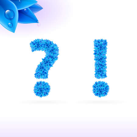Sans serif font with blue leaf decoration on white background. Question and exclamation marks