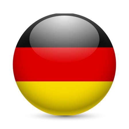 Flag of Germany as round glossy icon. Button with German flag