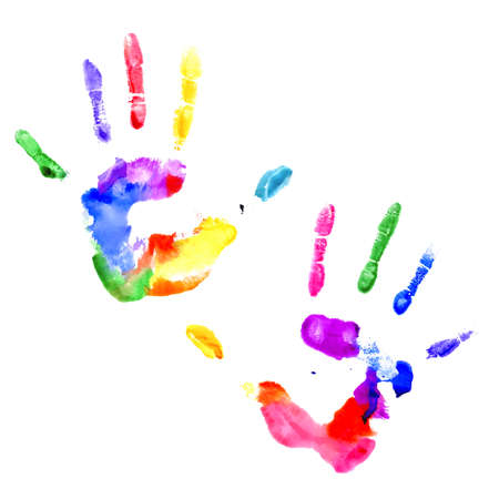 Left and right handprints painted in different colors on white background