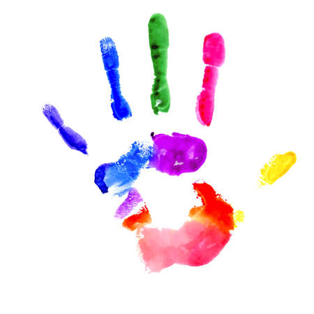 Handprint painted in several colors on white background