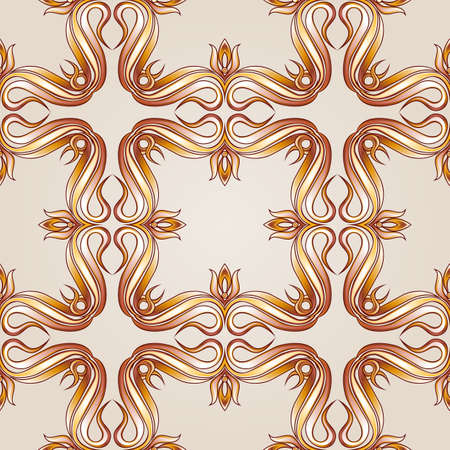 Brown-yellow seamless vector pattern on beige background  for webpage or ceramic tiles