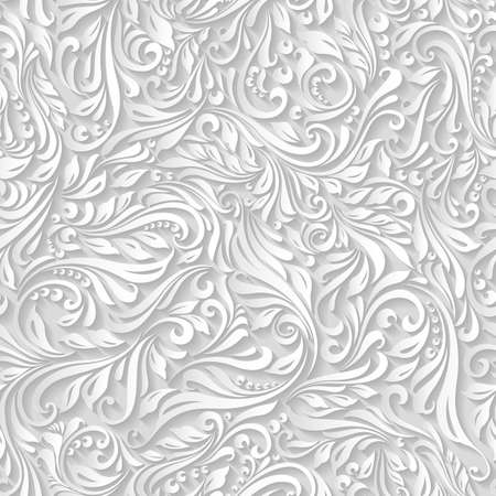 Illustration of seamless abstract white floral and vine pattern