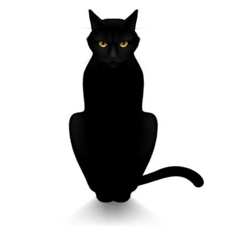 Illustration pour Black cat isolated on a white background - image libre de droit