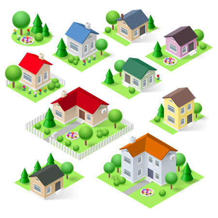 Illustration pour House set icons isometric 3d with flower trees and fence - image libre de droit