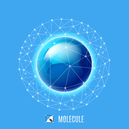 Molecular structure. Abstract illustration on blue background