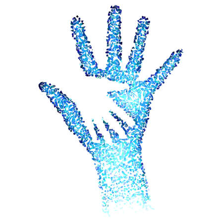 Illustration pour Helping Hands. Abstract illustration in blue color - image libre de droit