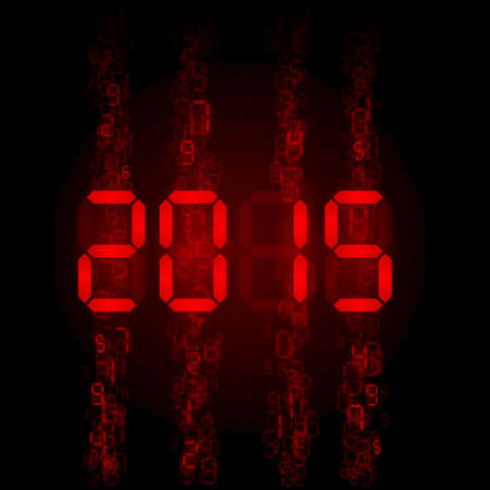 New Year 2015: red digital numerals on black.