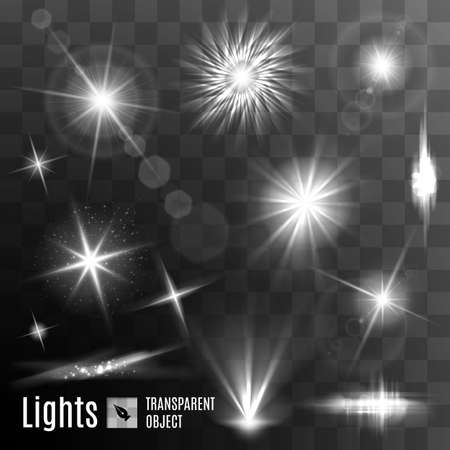 Set of black and white lens flares beams and flashes on transparent background