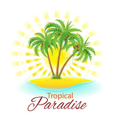 Illustration pour Summer background with palm trees and sunlight - image libre de droit