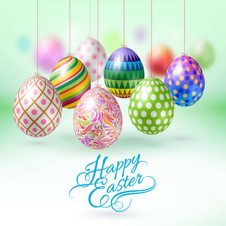 Illustration pour Happy Easter Greeting Card with Hanging Easter Eggs - image libre de droit