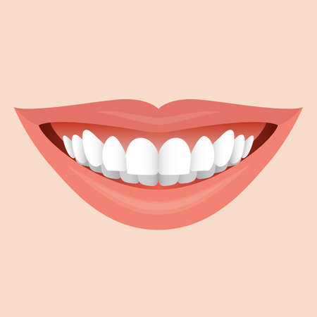 Illustration pour Smiling Mouth with White Teeth. Illustration for Creative Idea - image libre de droit