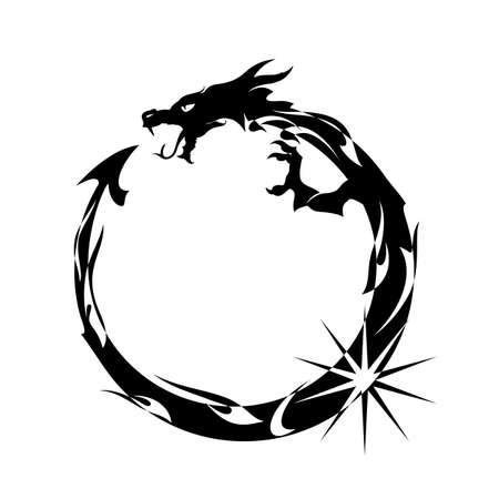 Ilustración de Ouroboros, Black Dragon Eating its Own Tail - Imagen libre de derechos