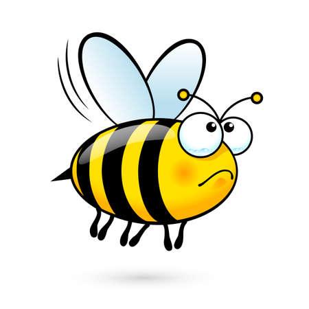 Ilustración de Illustration of a Friendly Cute Bee in Sorrow on White Background - Imagen libre de derechos