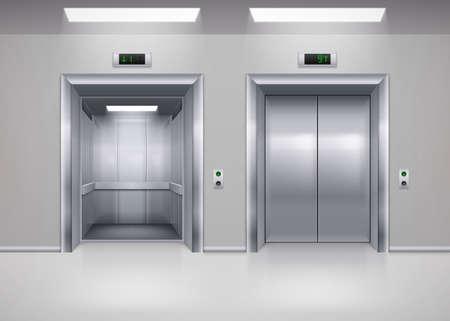 Ilustración de Open and Closed Modern Metal Elevator Doors. Hall Interior in Gray Colors - Imagen libre de derechos
