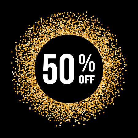 Illustration pour Golden Circle Frame on Black Background with Text Fifty Percent Off - image libre de droit