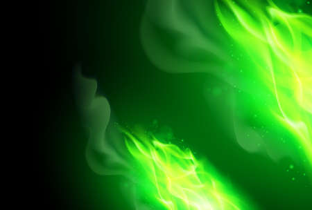 Ilustración de Realistic Green Fire Flames Effect on Black Background - Imagen libre de derechos