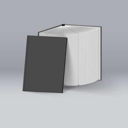 Illustration pour Stack of Black Books. Mockup Template for Design - image libre de droit