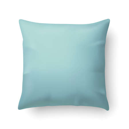 Illustration for Close Up of a Aquamarine Pillow Isolated on White Background - Royalty Free Image