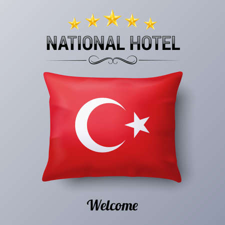 Illustration pour Realistic Pillow and Flag of Turkey as Symbol National Hotel. Flag Pillow Cover with Turkish flag - image libre de droit