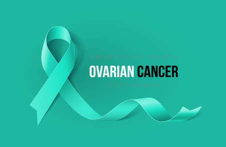 Ilustración de Banner with Ovarian Cancer Awareness Realistic Ribbon. Design Template for Info-graphics or Websites Magazines - Imagen libre de derechos