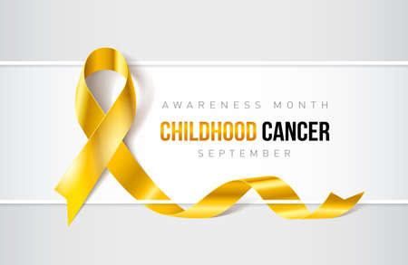 Illustration pour Banner with Childhood Cancer awareness realistic ribbon design template for websites and magazines. - image libre de droit