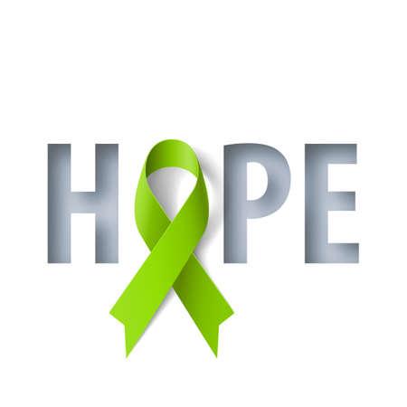 Ilustración de Banner with Hope Lettering and Symbol of Lymphoma Awareness Realistic Ribbon. Design Template for Info-graphics or Websites Magazines - Imagen libre de derechos