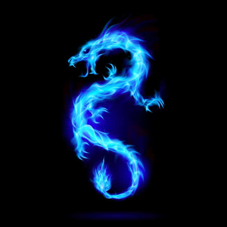 Illustration pour Illustration of Blue Fire Chinese Dragon Symbol of Wisdom and Power on Black Background - image libre de droit