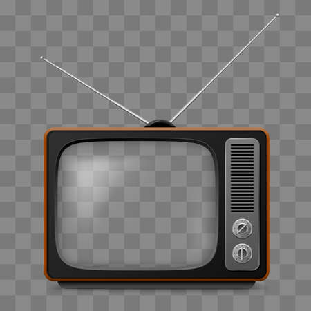 Illustration for Retro Television Set Viewer Mock Up Isolate on Transparent Grid - Royalty Free Image