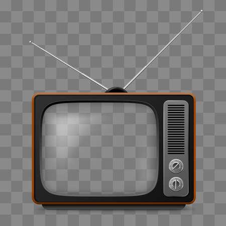 Ilustración de Retro Television Set Viewer Mock Up Isolate on Transparent Grid - Imagen libre de derechos
