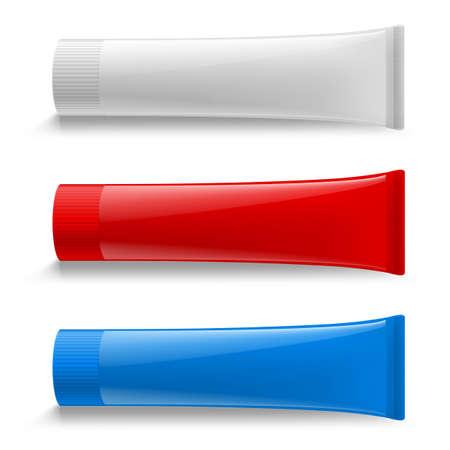 Illustration pour Tube Cream Set Illustration. Mock Up. Cosmetic, Cream, Tooth Paste, Glue White Plastic Tubes Set Packaging Realistic Illustration. Isolated - image libre de droit
