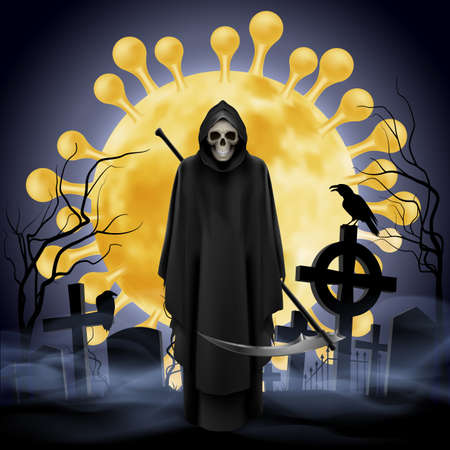 Illustration pour Illustration of Cemetery and Angel of Death with a Scythe. Apocalypse and Hell Concept Design Coronavirus Epidemic COVID-19. Deadly SARS-CoV-2 Spread in Europe and World - image libre de droit