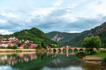 Photo for Mehmed Pasha Sokolovic Old Stone historic bridge over Drina river in Visegrad,Bosnia and Herzegovina - Royalty Free Image