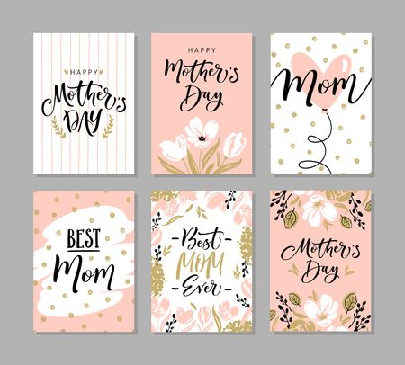 Illustration for Set of cute greeting cards for Mothers Day with hand drawn blossom flowers and modern brush calligraphy - Royalty Free Image