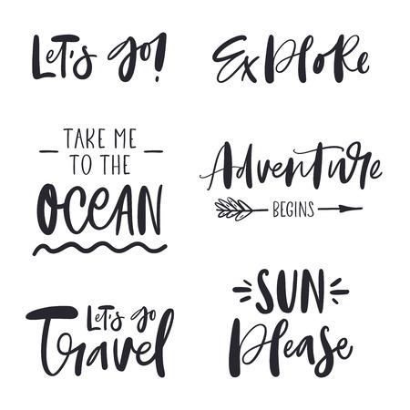 Illustration pour Set of inspirational phrases about travel - image libre de droit
