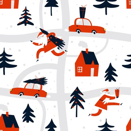 Merry Christmas illustration with santa claus go to town. Outdoor activities. Bustle on city streets before Christmas holidays. Wrapping paper, wallpaper, textile.