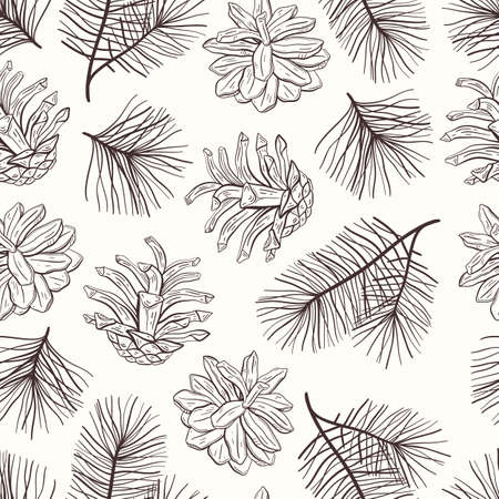 Illustration pour Elegant hand drawn Christmas seamless pattern with pine cones and branches. Winter botanical vintage background. Vector illustration - image libre de droit