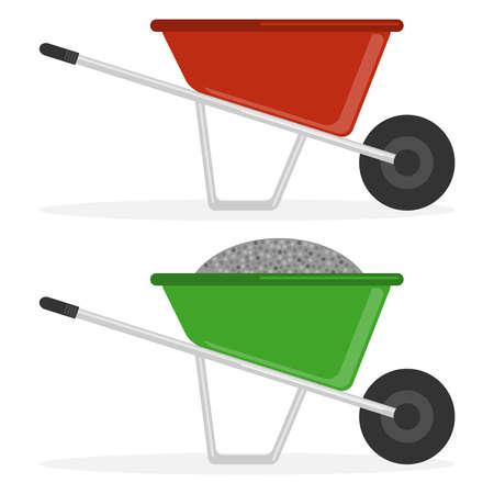 Illustration for Construction wheelbarrow, a construction wheelbarrow with rubble, an empty construction wheelbarrow. Flat design, vector illustration, vector. - Royalty Free Image