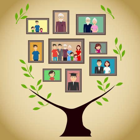 Illustration pour Family tree with portraits of family members. A real family tree with photos. Flat design, vector illustration, vector. - image libre de droit