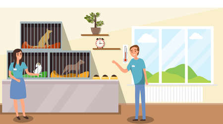 Illustration pour Shelter for stray dogs. A man and a woman work in a shelter for homeless animals. Cartoon illustration of an animal shelter. - image libre de droit