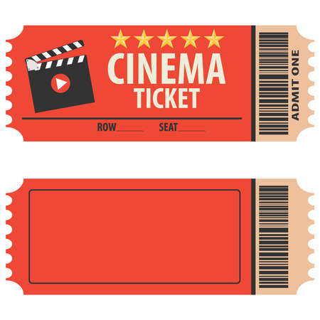 Illustration pour Vector red cinema ticket isolated on white background. Cinema ticket, skip to watch movies, realistic look. Cinema ticket movie coupon admit film entertainment. - image libre de droit