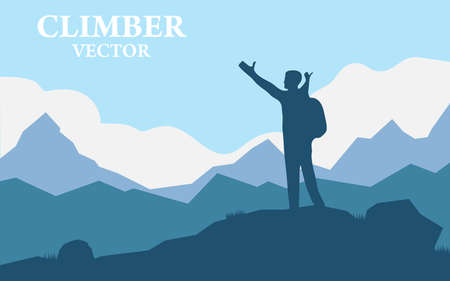 Illustration pour Traveler Man Silhouette Stand Top Mountain Rock Peak Climber. Vector illustration of a mountain landscape with realistic silhouette of one mountain climber. - image libre de droit