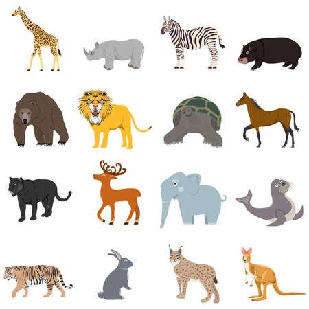 Photo pour Animals, a large set of animals. Cartoon illustration of animals. - image libre de droit