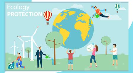 Illustration pour Environmental protection. Ecology protection. A group of mini people care about the environment and protect the environment. Vector illustration, vector. - image libre de droit